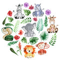 Watercolor Jungle Friends Animals, Africa, Tropical Leaves Stock Image - 82662391