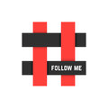 Red And Black Hashtag Icon With Follow Me Text Stock Images - 82668374