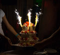 Celebration Cake With Candles And Cake Sparklers  Royalty Free Stock Photos - 82668628