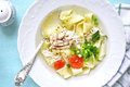 Chicken Soup With Homemade Egg Noodle.Top View. Stock Photography - 82670952