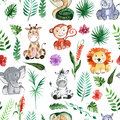 Watercolor Jungle Friends Animals, Africa, Tropical Leaves Royalty Free Stock Images - 82677299