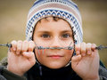 Boy Behind Barbed Wire Stock Photos - 8277633