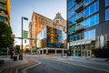 Elm Street And Buildings In Downtown Greensboro, North Carolina. Royalty Free Stock Image - 82700906