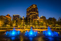 Fountains And Buildings At Lebauer Park At Night, In Downtown Gr Royalty Free Stock Photo - 82706525