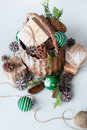 Vintage Christmas Gift Basket Balls Pine Cone Royalty Free Stock Photo - 82711325
