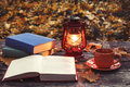 The Book, Lamp And A Cup Of Hot Coffee On The Old Wooden Table In A Forest. Stock Images - 82718374
