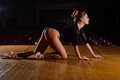 Tired Ballet Dancer Girl Crawling On Stage Of The Theater Stock Photos - 82718773
