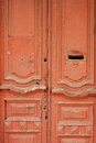 Vintage Wooden Door Painted Red With Letterbox Hole Royalty Free Stock Photos - 82722048