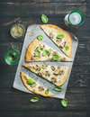 Homemade Mushroom Pizza With Basil And Rose Wine Stock Image - 82723171