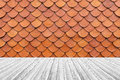 Wood Terrace And Tile Roof Texture Stock Image - 82725921