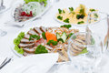Cutlery And Cold Cuts Served On Festive Table In Restaurant Stock Images - 82726874