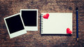 Blank Photo Frame, Notebook, Pencil And Red Heart On Wood Table Royalty Free Stock Photo - 82742015