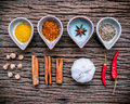 Various Herbs And Spices In Ceramic Bowl . Food And Cuisine Ingr Royalty Free Stock Image - 82742766