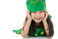 Portrait Of Asian Cute Girl In CHRISTMAS TREE Costume. Royalty Free Stock Image - 82750766