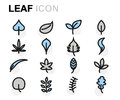 Vector Flat Leaf Icons Set Royalty Free Stock Photo - 82752825