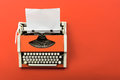 Red Vintage Typewriter With White Blank Paper Sheet Royalty Free Stock Image - 82759036