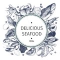 Vector Hand Drawn Seafood Logo. Lobster, Salmon, Crab, Shrimp, Ocotpus, Squid, Clams.Engraved Art In Round Composition. Stock Images - 82762024