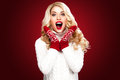 Happy Laughing Blond Woman Dressed In Christmas Wear Think About Santa, Isolated On Red Background Stock Photo - 82767830