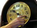 Human Hand Changes  Time On The Old Clock Stock Photography - 82793632
