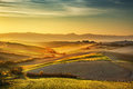 Tuscany Countryside Misty Panorama, Rolling Hills And Green Field Royalty Free Stock Image - 82801756