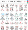Vector Heavy And Power Industry Color Line Outline Icons For Apps And Web Design. Stock Photography - 82838752