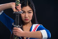 Asian Lady With Sword In Studio Royalty Free Stock Images - 82851229