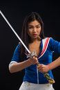 Asian Lady With Sword In Studio Royalty Free Stock Images - 82851299