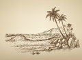 Beach With Palm Trees Illustration Stock Image - 82864481