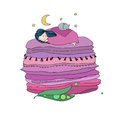 Princess On The Pea. Blankets And Pillows. Royalty Free Stock Photography - 82866407