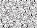 Owls Birds Group Black And White Seamless Pattern. Stock Photos - 82868233