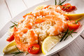 Shrimps, Rice And Vegetables Stock Images - 82879454