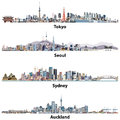 Abstract Illustrations Of Tokyo, Seoul, Sydney And Auckland Skylines. Stock Images - 82885084