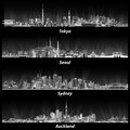 Abstract Illustrations Of Tokyo, Seoul, Sydney And Auckland Skylines At Night In Grey Scales. Stock Image - 82885351