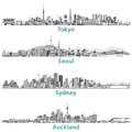 Abstract Skylines Of Tokyo, Seoul, Sydney And Auckland In Grey Scales. Stock Photos - 82886023