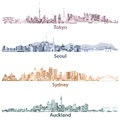 Abstract Illustrations Of Tokyo, Seoul, Sydney And Auckland Skylines At Night In Different Colorful Palettes Stock Photo - 82886360