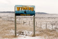 Welcome To Wyoming Forever West State Entry Sign Royalty Free Stock Photo - 82900395