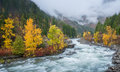 Autumn HDR With Fog Over Mountain In Leavenworth Royalty Free Stock Photo - 82902235