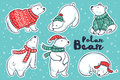 Polar Bears Collection In Red And Green Sweater, Scarf, Hat Royalty Free Stock Photos - 82911708