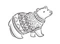 Hand Drawn Outline Print With Polar Bear In Winter Sweater Stock Photo - 82914370