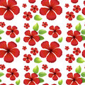 Seamless Background Design With Red Hibicus Flowers Stock Photography - 82927352