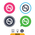 No Smoking Sign Icon. Cigarette Symbol. Stock Photos - 82958553