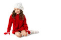 Fashion Little Girl In Winter Knitted Clothes On Isolated White Background Royalty Free Stock Photography - 82987267