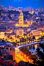 Famous Split Waterfront Evening Aerial View Royalty Free Stock Image - 82989486