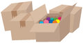 Four Cardboard Boxes And One With Balls Stock Image - 82990681
