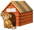 Sad Looking Dog In Front Of Doghouse Stock Photography - 82990852
