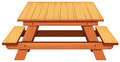 Wooden Picnic Table On White Background Royalty Free Stock Image - 82992486