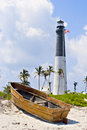 Lighthouse, Flag And Boat Royalty Free Stock Photography - 8302217