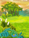 Cartoon Nature Scene With Grass Fields Near The Jungle - Mountains In The Background Royalty Free Stock Photo - 83011275