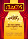 Circus Show Poster Template With Sign And Light Frame. Festive Circus Invitation. Vector Carnival Show Illustration Royalty Free Stock Photography - 83016997
