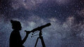 Woman With Telescope Watching The Stars. Stargazing Woman And Ni Royalty Free Stock Photography - 83022647